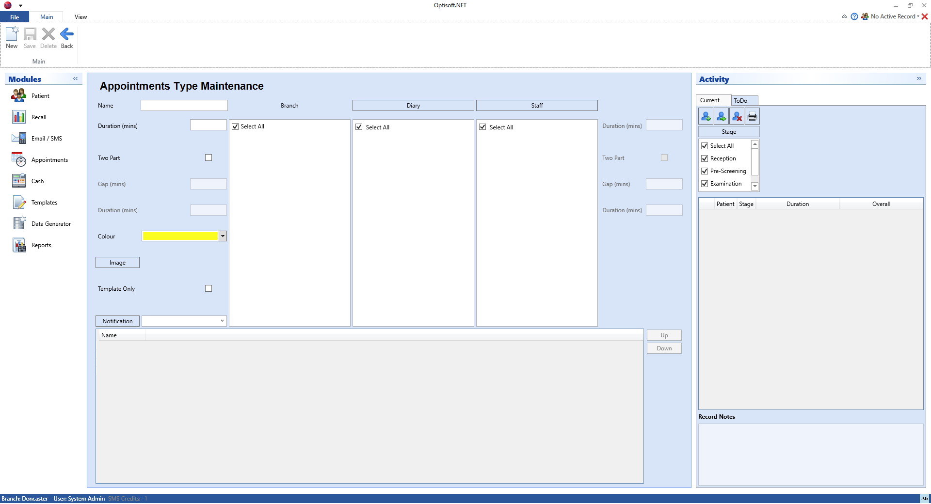 Maintaining the Appointments Module - Optisoft
